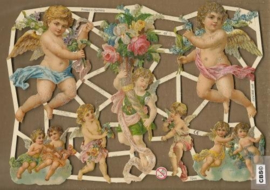 Engelen met bloemenkelk poezieplaatjes GL7244