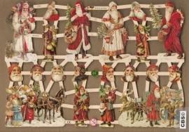 Kerstmannen met kerstboom en slee poezieplaatjes GL7331
