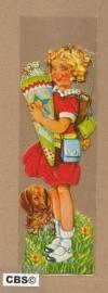 Nostalgische boeklegger meisje met snoepzak (poëzieplaatjes)