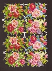 PZB 1347 Prachtige roosboeketjes oude poezieplaatjes
