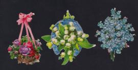 Bloemen (3) antieke poezieplaatjes met glinsterfolie (137)