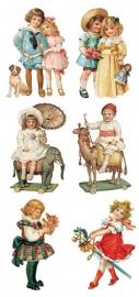Kindjes met oud speelgoed poezieplaatjes Stickers Y155