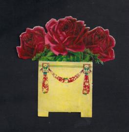 Donkerroze rozen vierkant bloempotje antiek poezieplaatjes