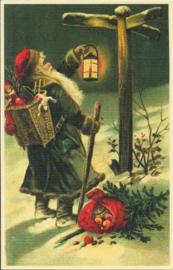 De kerstman zoekt zijn weg prentbriefkaart [SV S011]
