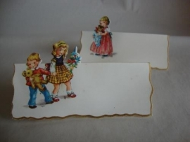 2 Oude tafelkaartjes met glitter en goudopdruk