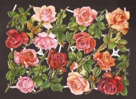 3090 EAS Roze Rozen oude poëzieplaatjes