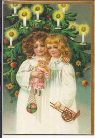 Meisjes bij de kerstboom dubbele kaart [SV U107]