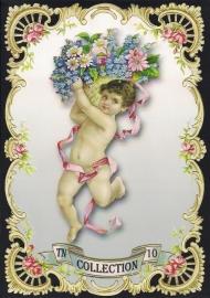 Engeltje roze lint en bloemen TNC 10 Deense poezieplaatjes
