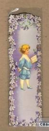 Nostalgische boeklegger jongen blauw met viooltjes (poëzieplaatjes)