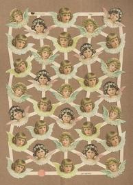 Engelen met bloemhaarband klein poezieplaatjes GL7394