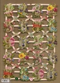 Cijfers versiert met bloemen poezieplaatjes 7339