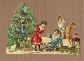 Kerst kinderen met treinbaan poezieplaatjes 5180