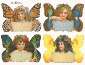 Vlinderkopjes met naambordje poezieplaatjes Stickers P107