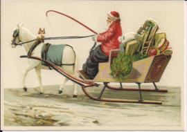 Kerstman met wagen vol cadeautjes Reliefkaart [SV 6Wp043]