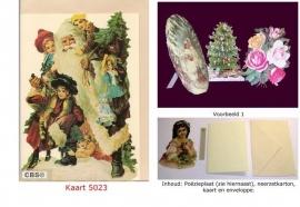 Sierkaart 5023: Kerstman met kinderen Poëzieplaatjes