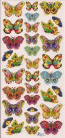 Felgekleurde hele kleine vlindertjes poezieplaatjes Stickers C67