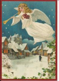 Trompetter engel in de nacht Glitter prentbriefkaart [SV 6Wg095]