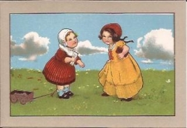 Oude Litho: twee meisjes met een trekkarretje