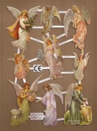 Kleurige Engelen Deense poezieplaatjes D28 glitter