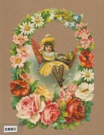 Meisje schommelt in bloemenkrans poezieplaatjes 5085