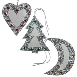 Cadeaulabels Glitter Kerstboom, maan en hart 3 stuks