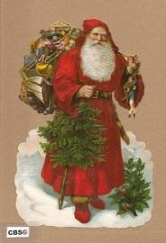 Kerstman met cadeau`s en kerstboom poezieplaatjes 5020