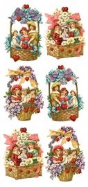Nostalgie in bloemenmandjes poezieplaatjes Stickers Y149