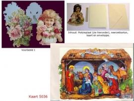 Sierkaart 5036: De Wijzen bij Jezus in de kribbe Poezieplaatjes