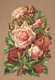 Oudroze groot Rozenboeket poezieplaatjes 5146