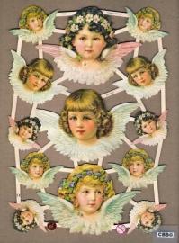 Engelen met bloemhaarband poezieplaatjes GL7315