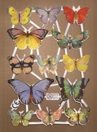 Vlinders met Citroentje Deense poezieplaatjes D17 glitter