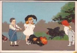 Oude Litho: kindjes met hoepel en hanen