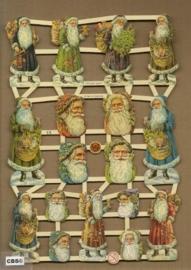 Kerstmanhoofden groen, blauw oranje poezieplaatjes 7304