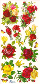 Bosjes bloemen rood-geel poezieplaatjes Stickers C74