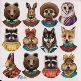 Dappere dieren poezieplaatjes Stickers K14