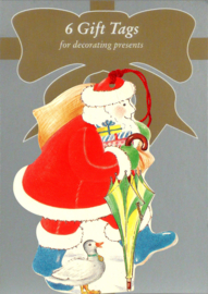 6 Gift Tags: Kerstman met paraplu [XT-1232/6]