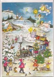 Adventskalender Kaart: Kerst Locomotief - 12286