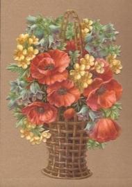Mand met bloemen en klaproos poezieplaatjes 5134