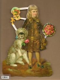 Jongen met hond en rozen poezieplaatjes GL7108