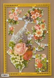Bloemen met Rozen & Seringen poezieplaatjes A 91