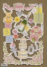 F3012: Feest bruiloft geboorte poezieplaatjes met parelmoerfolie