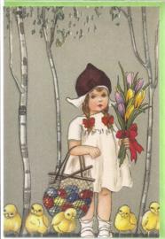 Meisje met paaseieren dubbele kaart [SV U109]