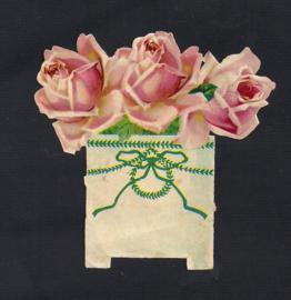 Drie roze rozen bloempotje antiek poezieplaatje