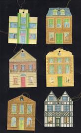 Cadeaulabels Huisjes 6 stuks