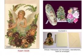 Sierkaart 5026: Engel in viooltjes Poëzieplaatjes