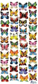 Kleine kleurrijke vlindertjers poezieplaatjes Stickers C55
