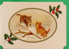 Christmas Catland kaart: Katjes wipwappen [XC-3123]
