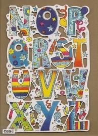 F3002: Vrolijk alfabet deel 2 poezieplaatjes met glinsterfolie