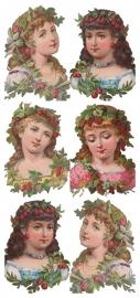 Dames met fruitkrans poezieplaatjes Stickers Y145