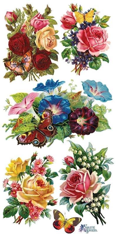 Rozen met Vlinders poezieplaatjes Stickers C54